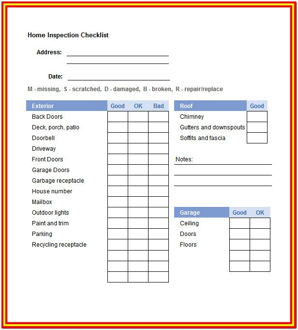 Home Inspection Checklist Template Excel