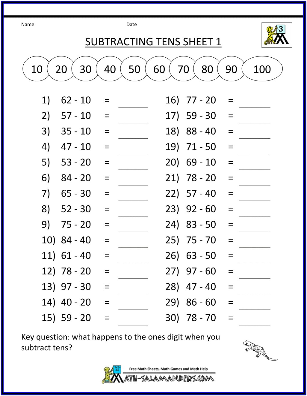 Printable Math Worksheets 3rd Grade