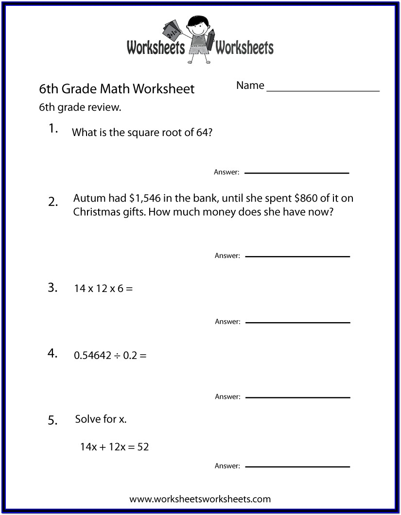 Printable Math Worksheets Grade 6