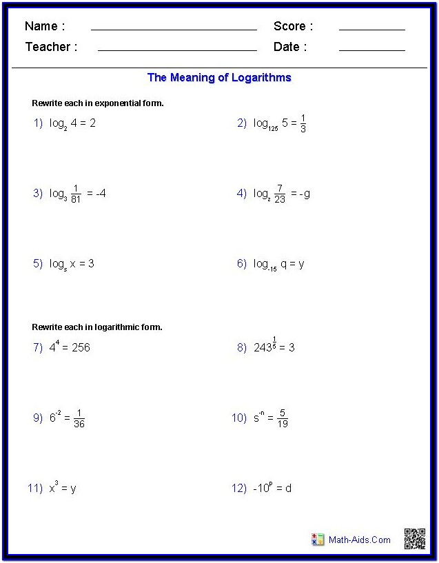 Printable Math Worksheets Logarithmic Equation
