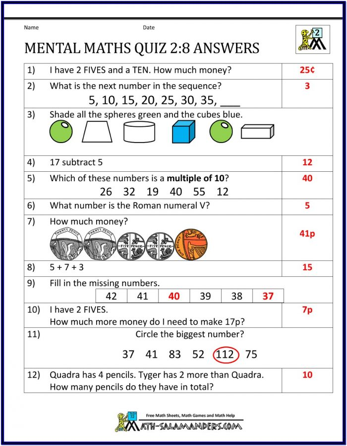 Printable Maths Worksheets Year 8