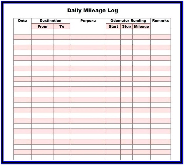 Printable Mileage Log For Taxes