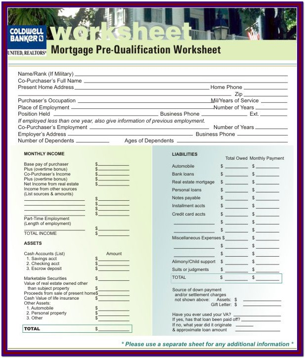 Qualified Mortgage Worksheet