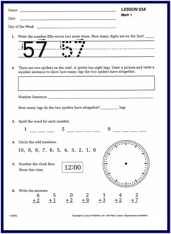 Saxon Math Kindergarten Worksheets