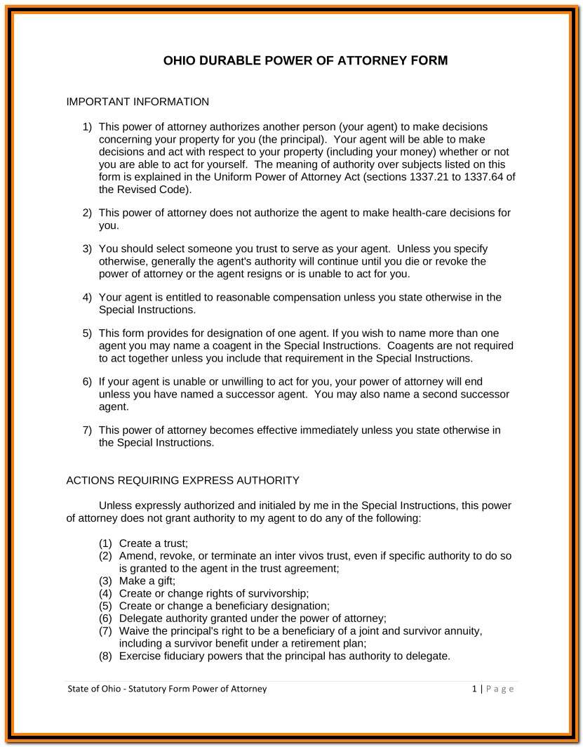 Forms Free Ohio Durable Financial Power Of Attorney Form Word Pdf