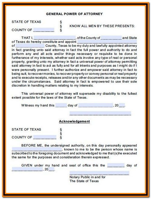 Durable Power Of Attorney Form Texas
