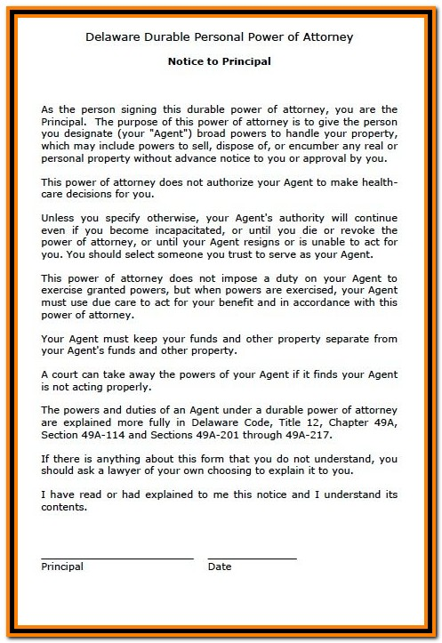 Durable Unlimited Power Of Attorney Form