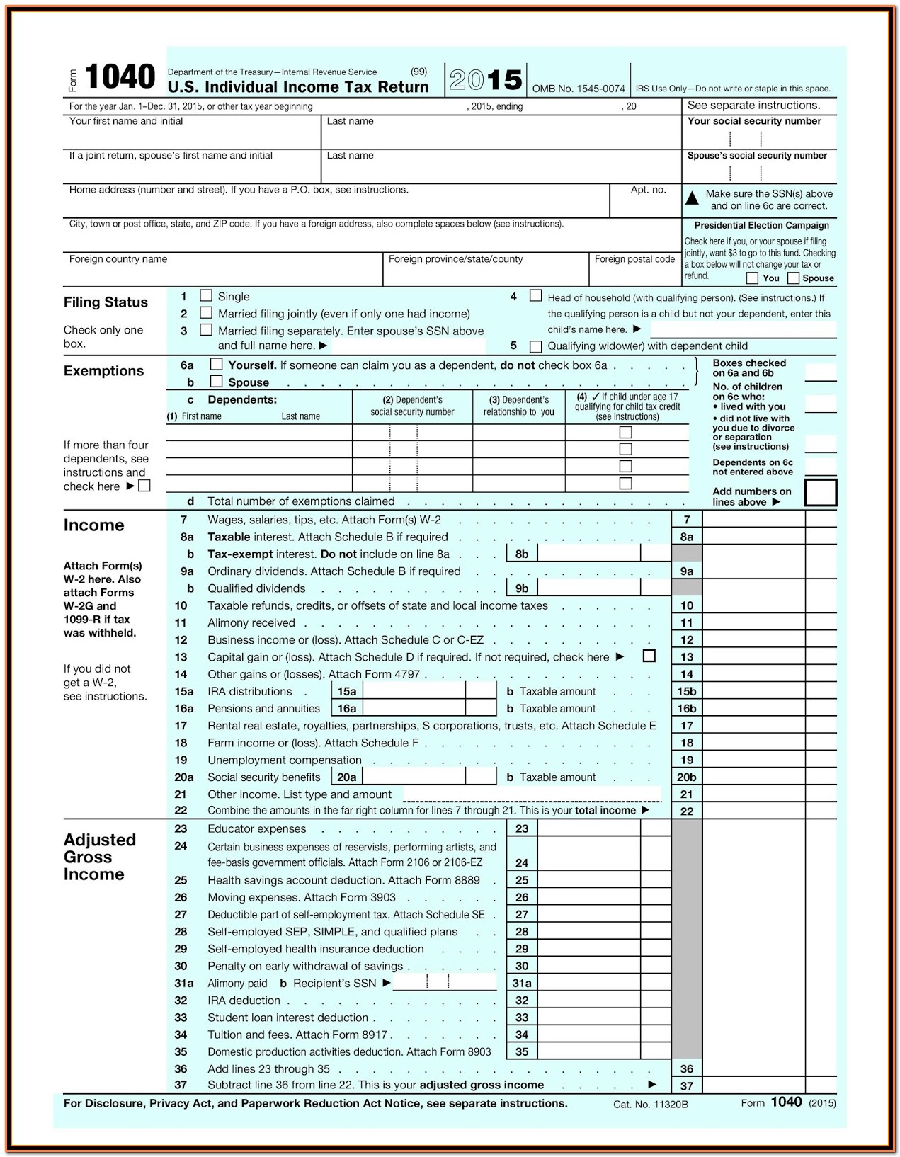 Irs Form 1040 Address