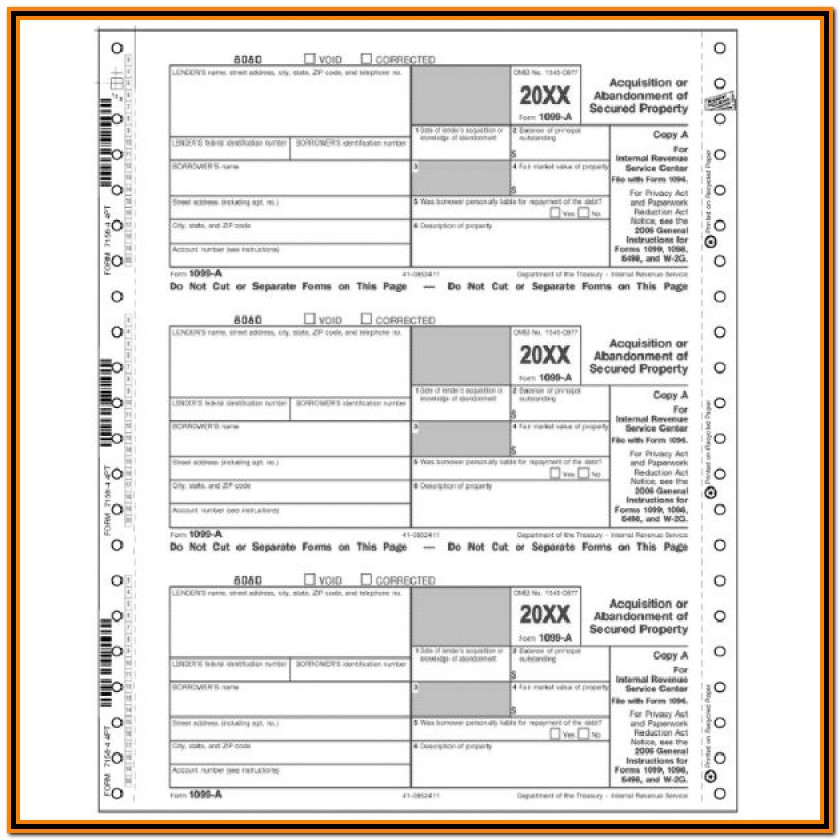 Irs Form 1099 A