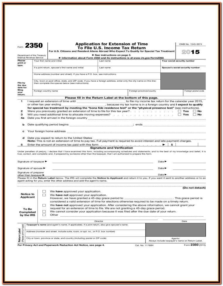 Irs Forms 1040 Extension