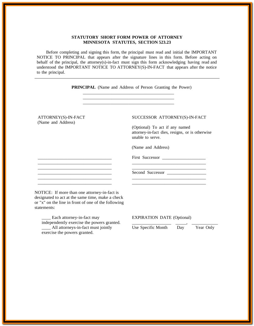 Minnesota Durable Power Of Attorney Form Download
