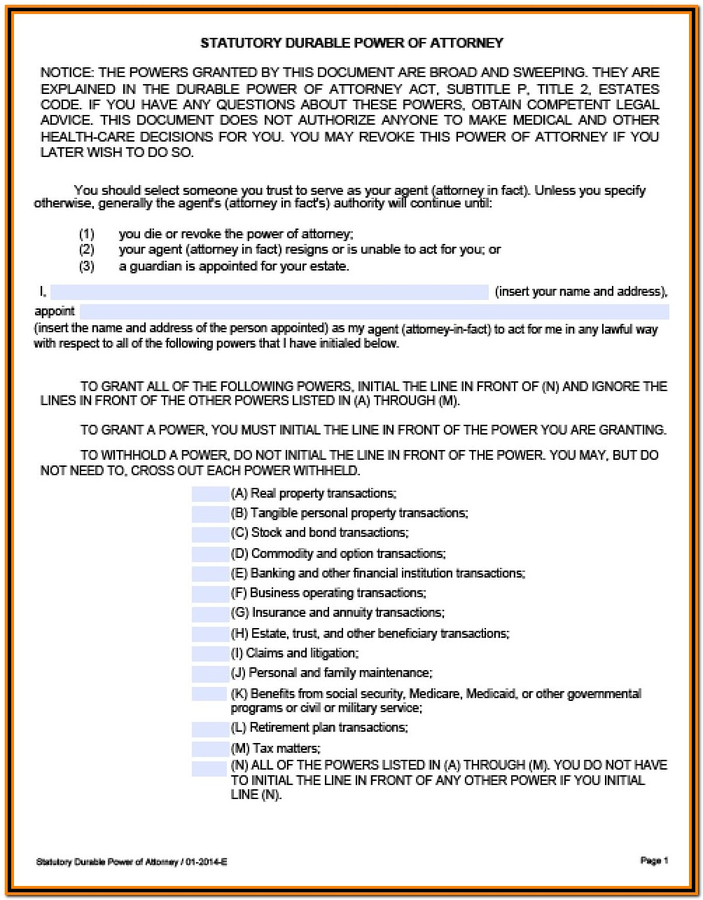 Printable Durable Power Of Attorney Form Texas