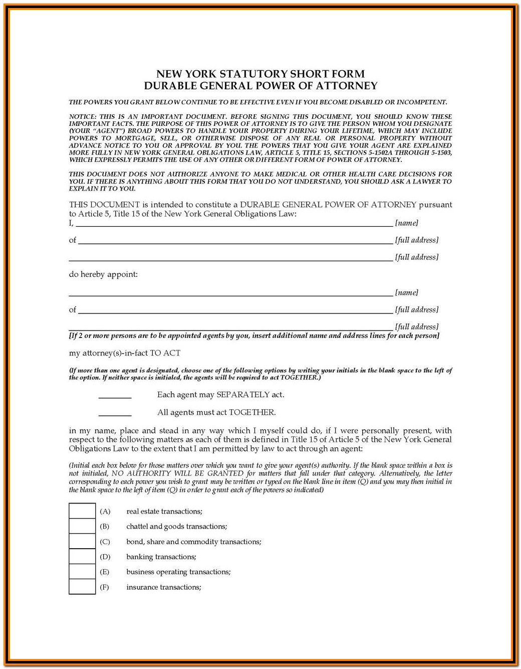 State Of New Jersey Durable Power Of Attorney Form