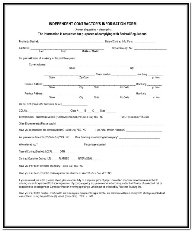 1099 Form Independent Contractor 2018 Pdf