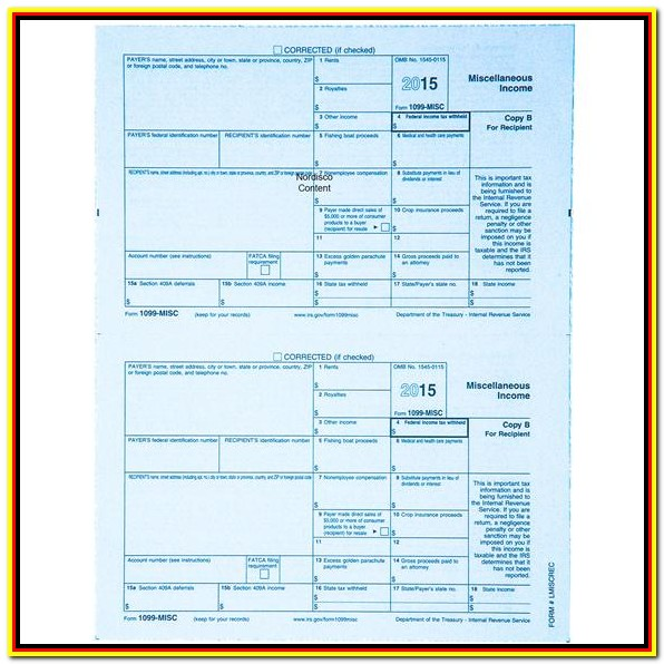 2015 Printable 1099 Tax Form