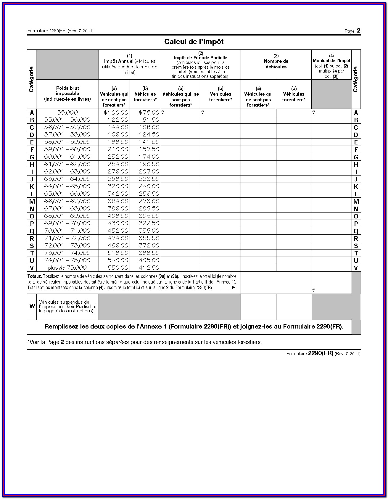 2290 Income Tax Form