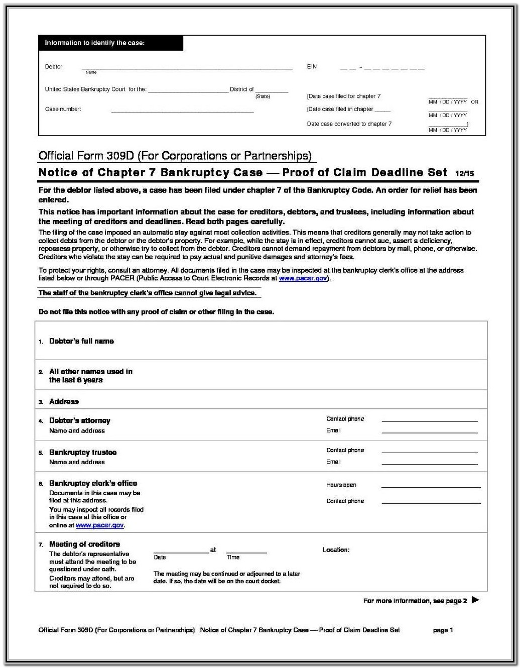 Bankruptcy Chapter 7 Forms Ny