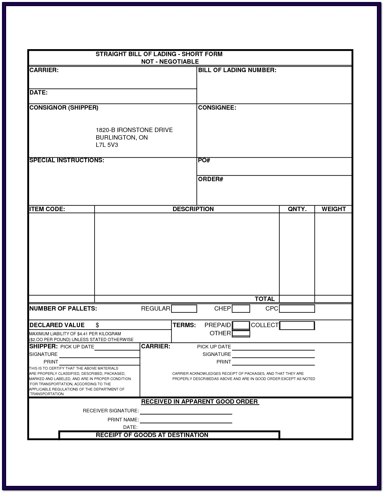 Bill Of Lading Form Word Document