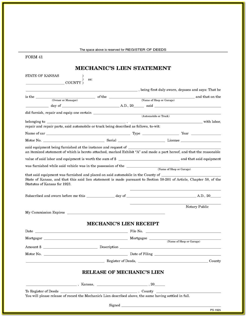 Blank Mechanics Lien Form Texas