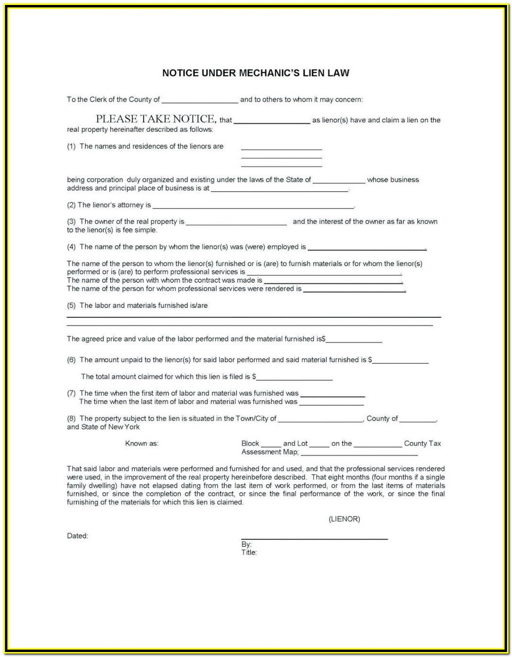 California Mechanic Lien Waiver Form