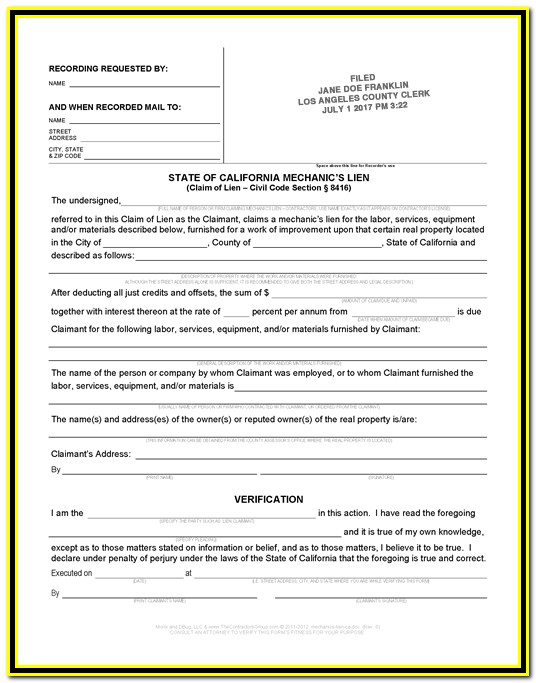 California Mechanics Lien Preliminary Notice Form