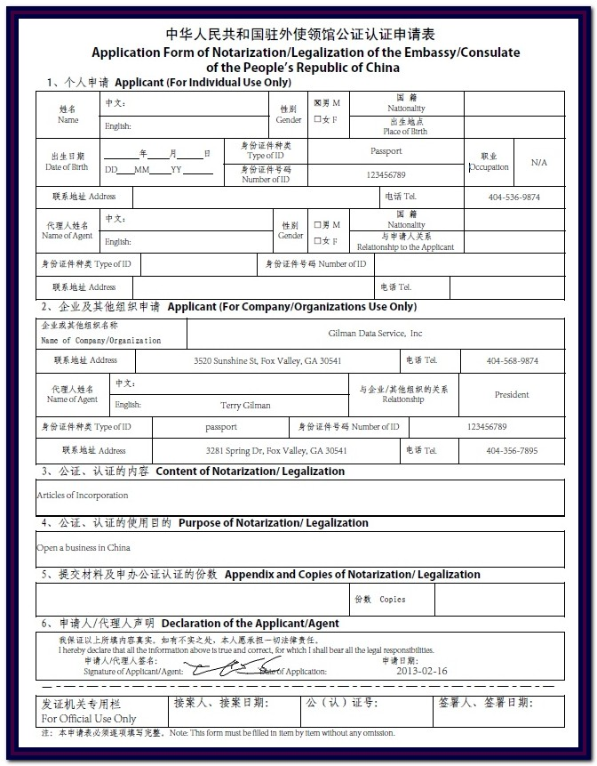 Chinese Visa Application Form 2017