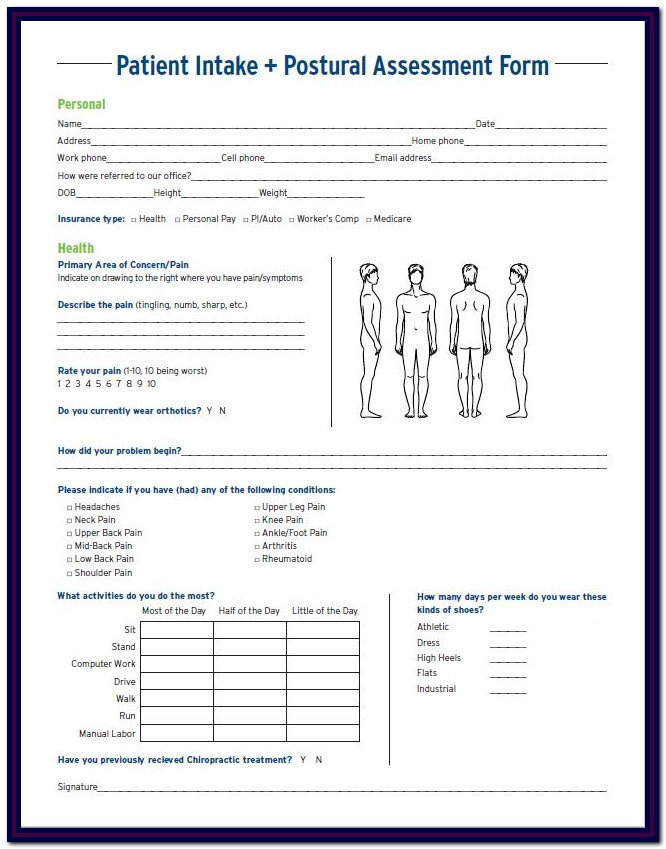 Chiropractic Patient Intake Forms