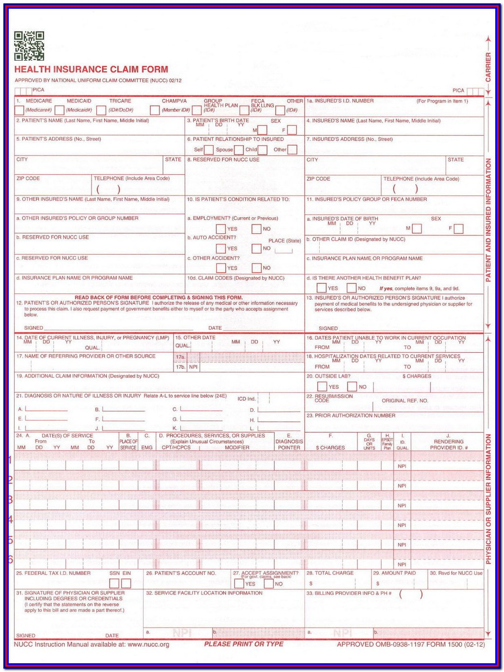 Cms 1500 Claim Form Instructions Pdf