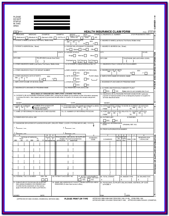 Cms 1500 Form Pdf Fillable