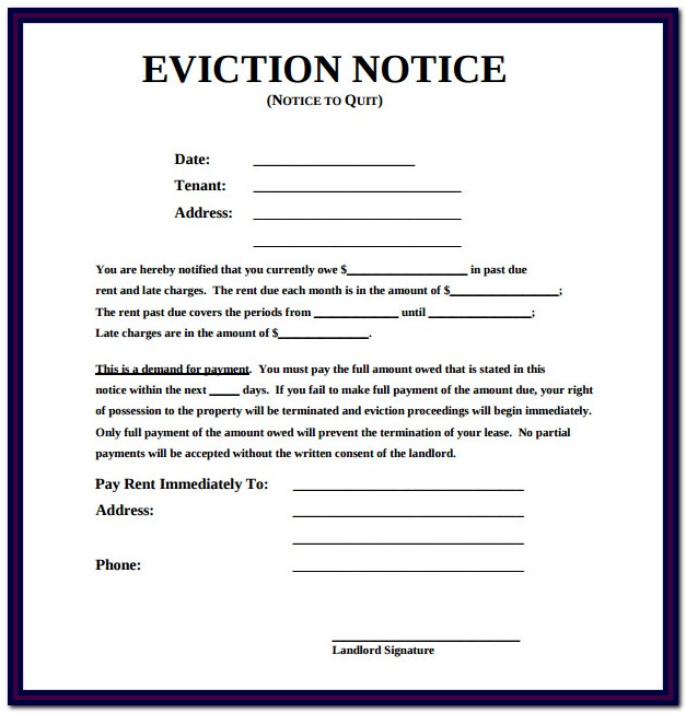 Eviction Notice Form Free