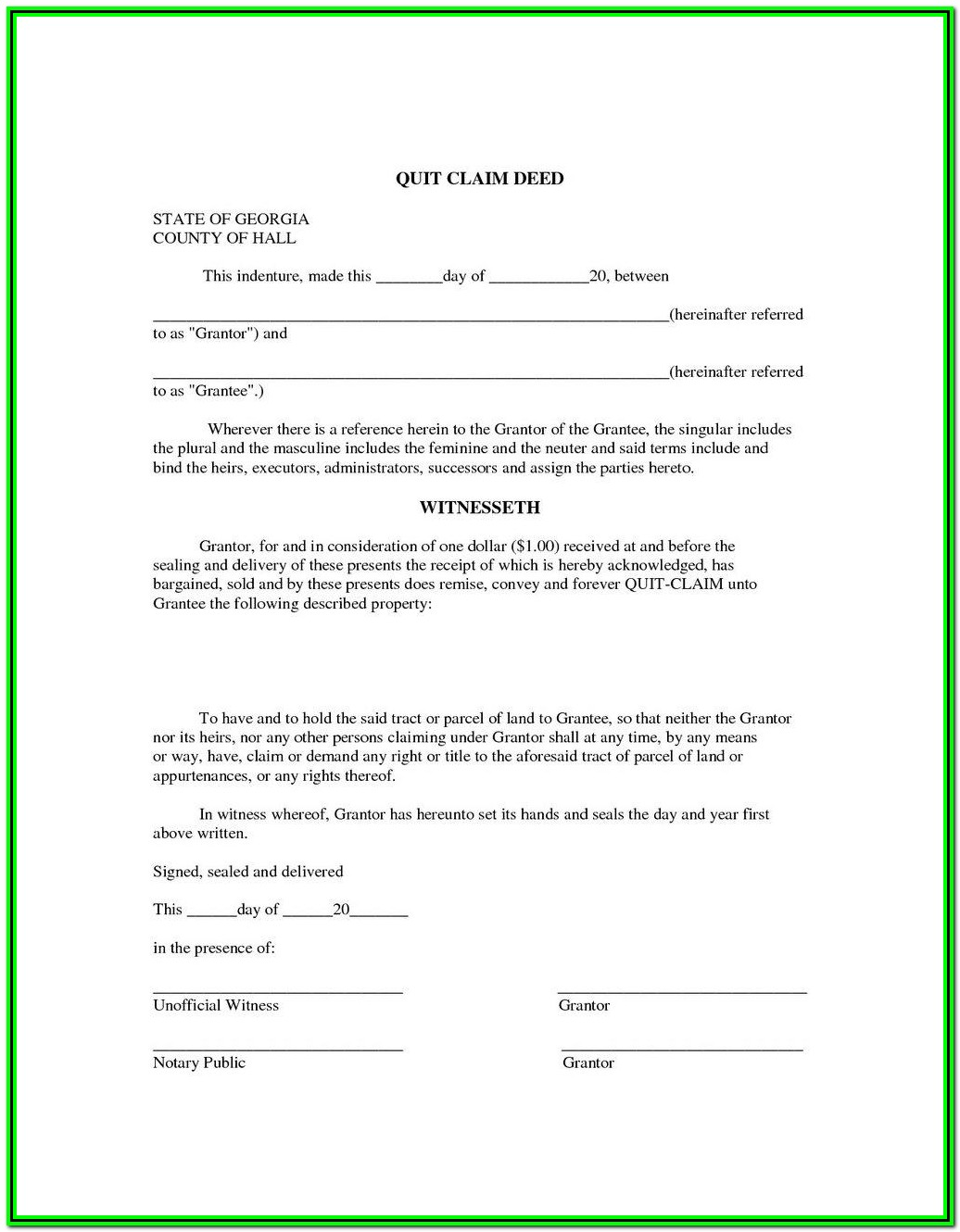 Florida Quit Claim Deed Form For Timeshare