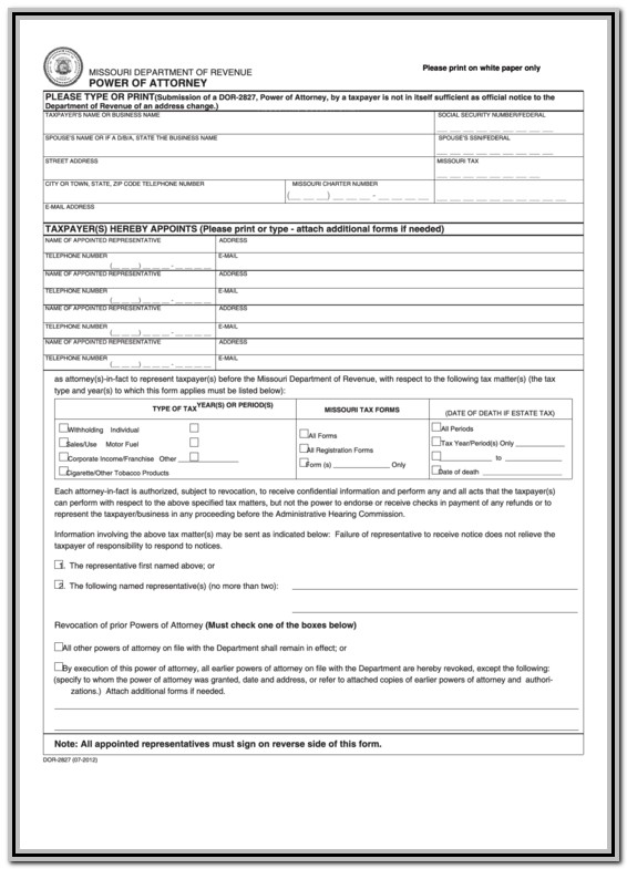 Free Durable Power Of Attorney Form Missouri