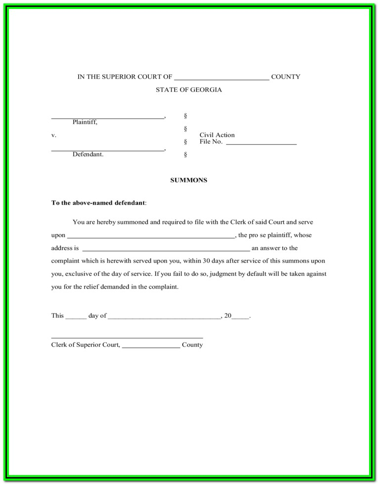 Georgia Divorce Forms Pdf