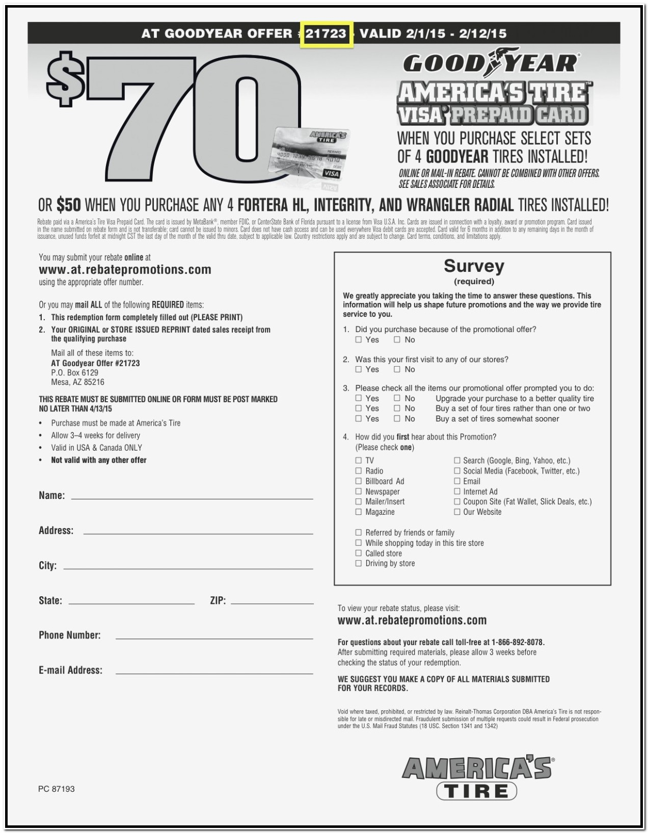 Goodyear Rebate Form 2019