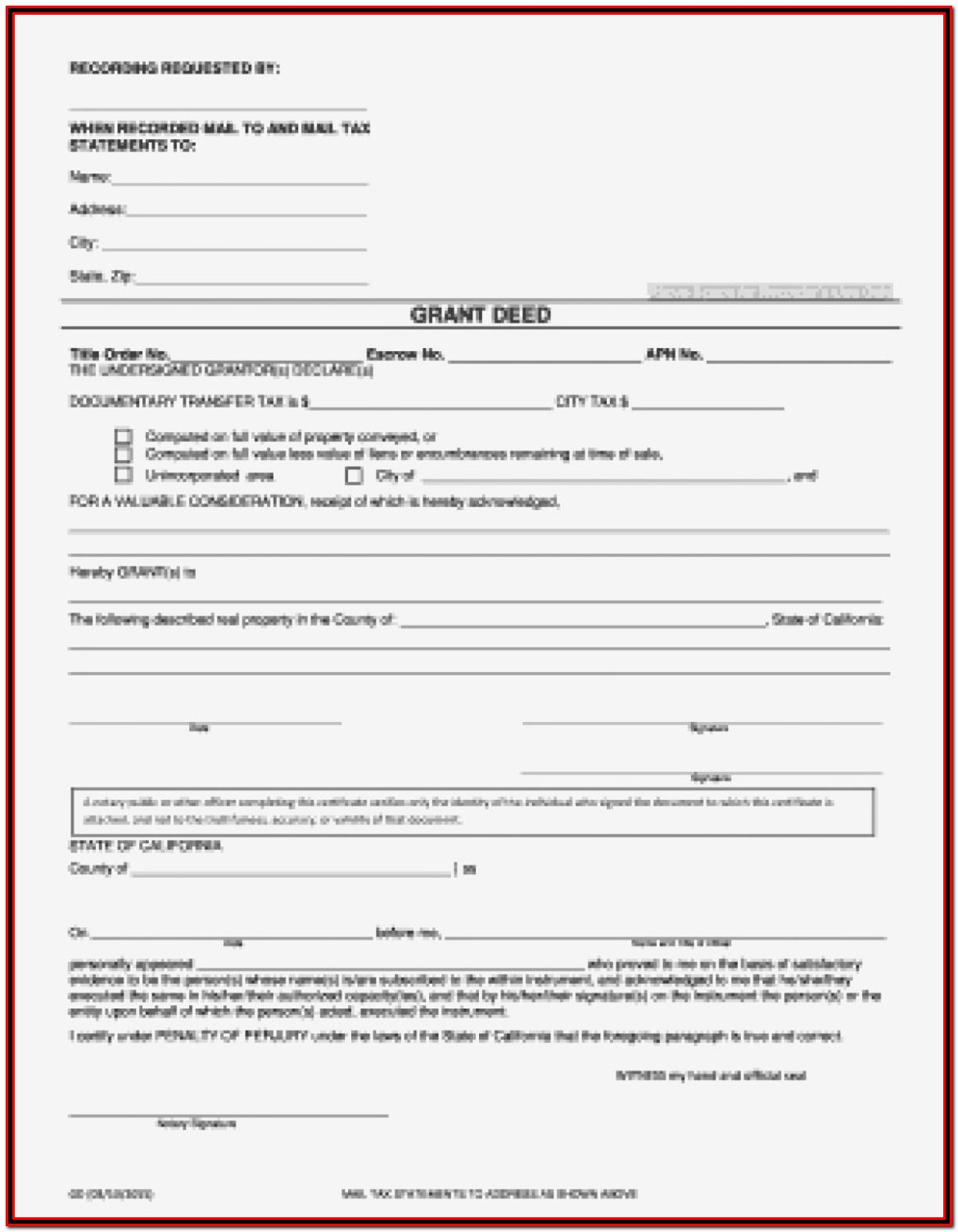 Grant Deed Form Alameda County