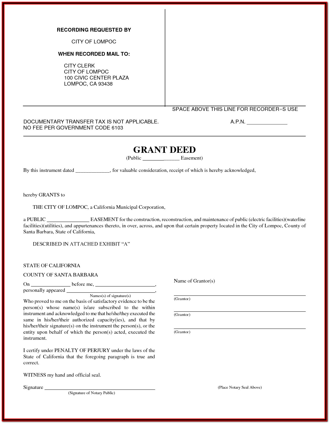 Grant Deed Form Orange County