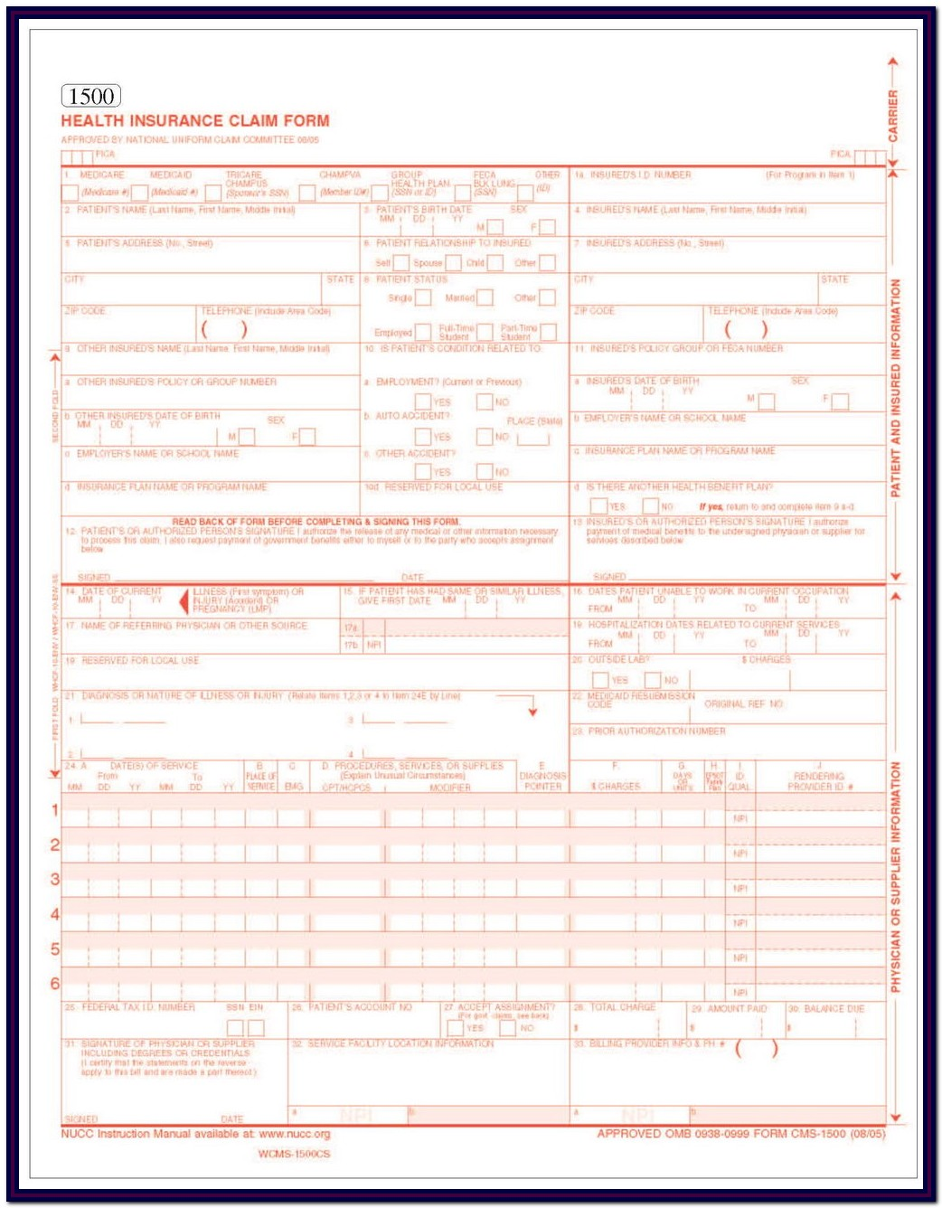 Hcfa 1500 Form Sample