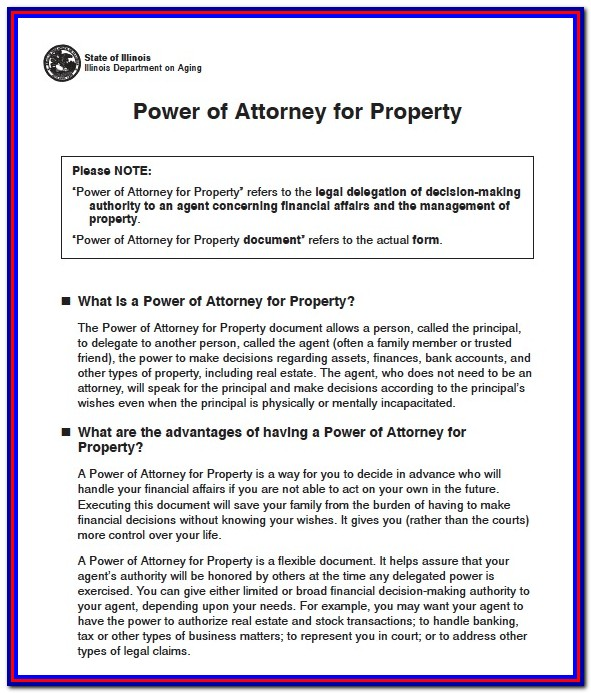 Health Care Power Of Attorney Form Illinois