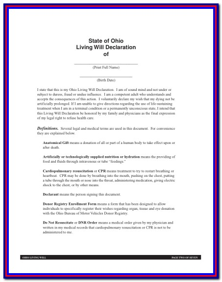 Health Care Power Of Attorney Form Ohio