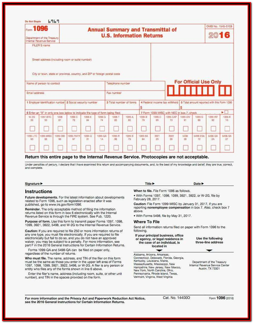 Irs 1099 Forms 2016