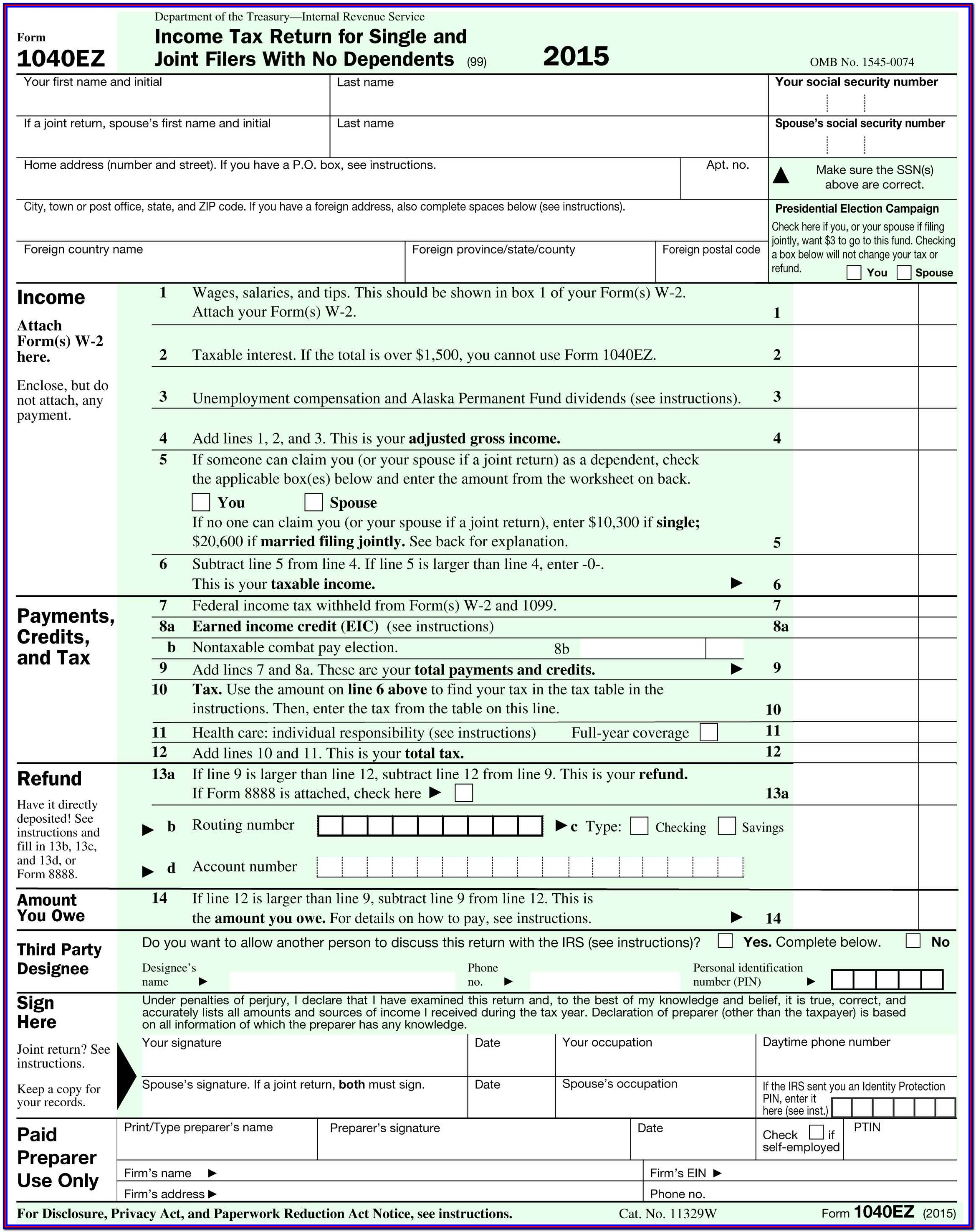 Irs Gov Forms 1040ez