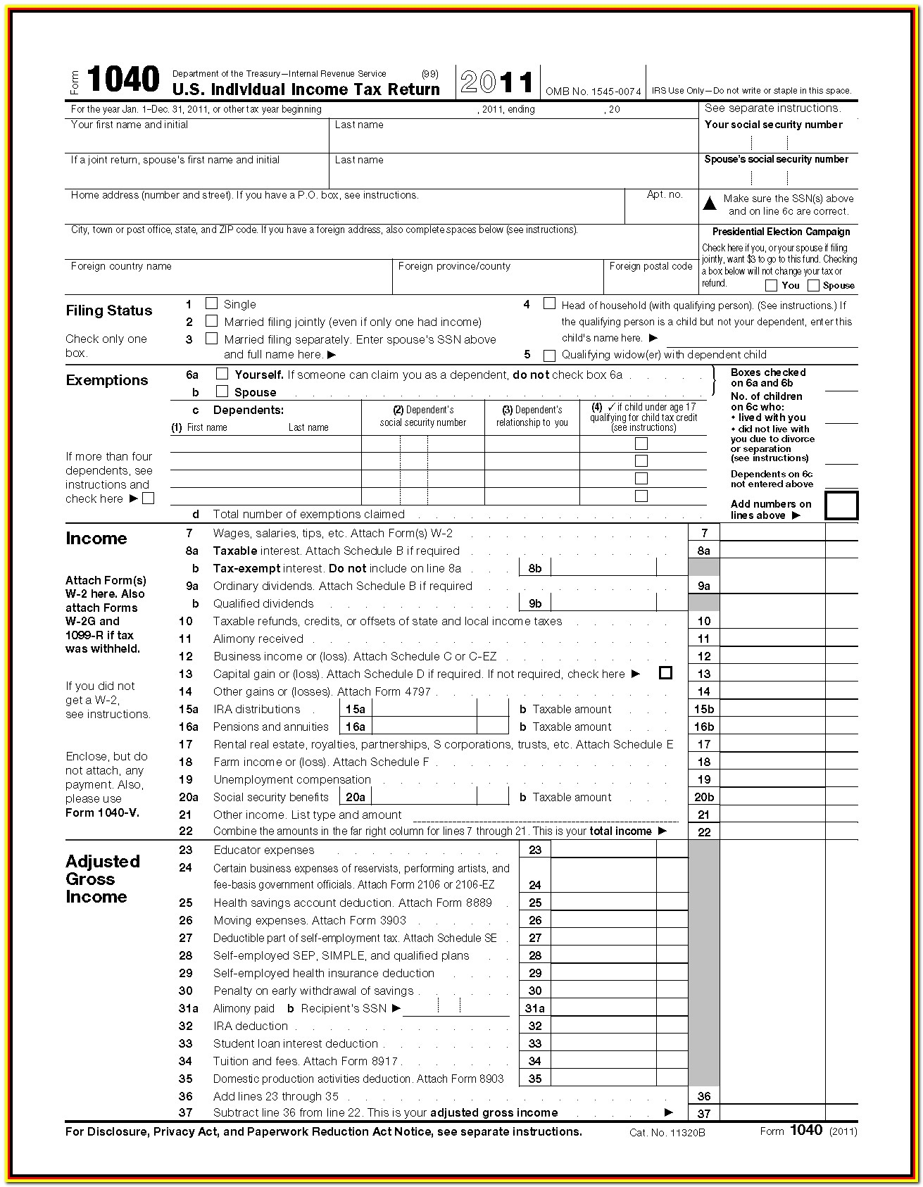 Irs Tax Forms 1040 Instructions