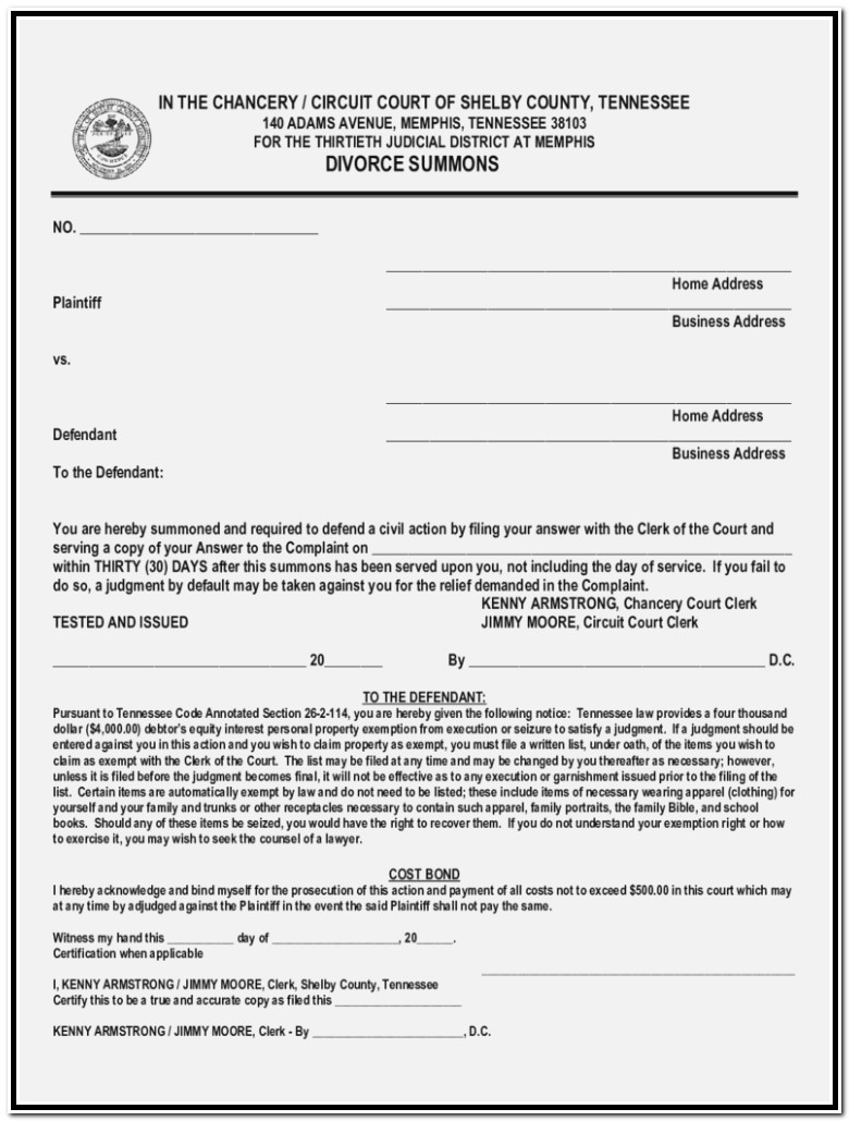 Knox County Tn Divorce Forms