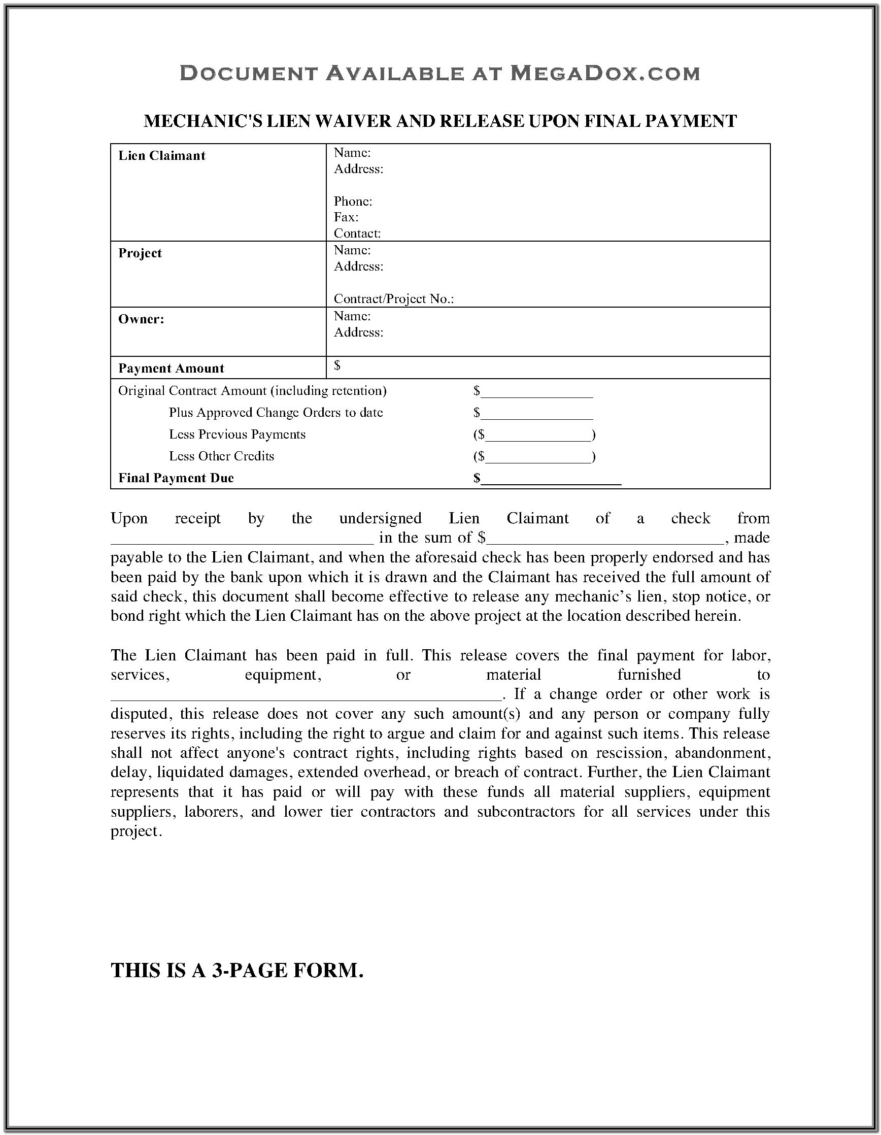 Mechanics Lien Form Nevada