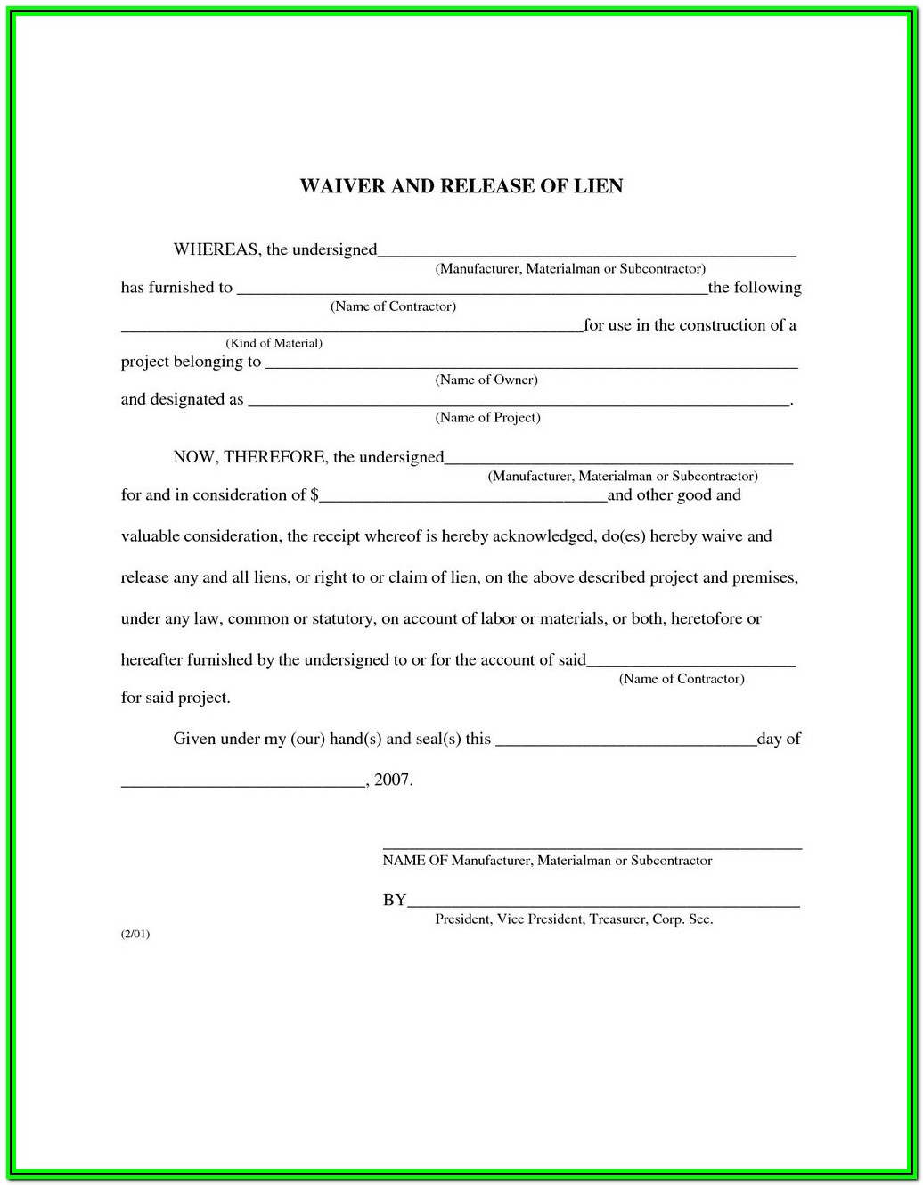 Mechanics Lien Form Texas