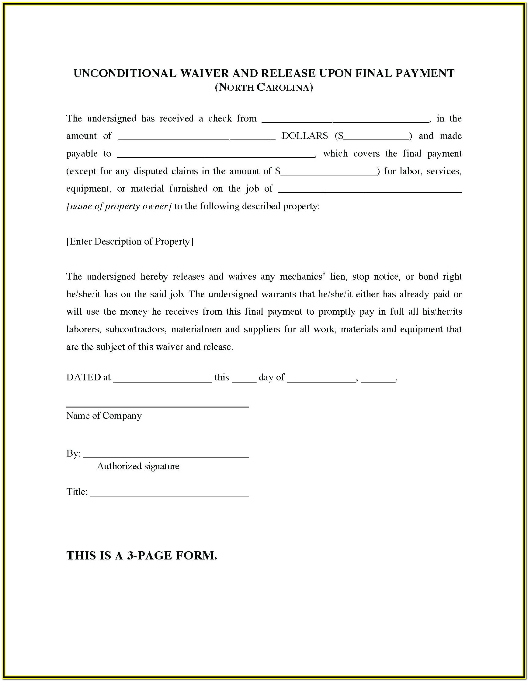 Notice Of Mechanics Lien Form California
