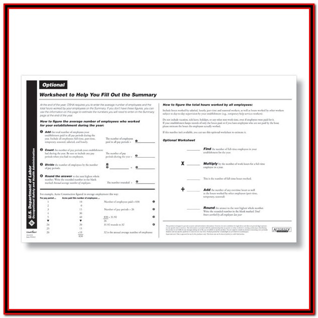 Osha 300a Form Fillable