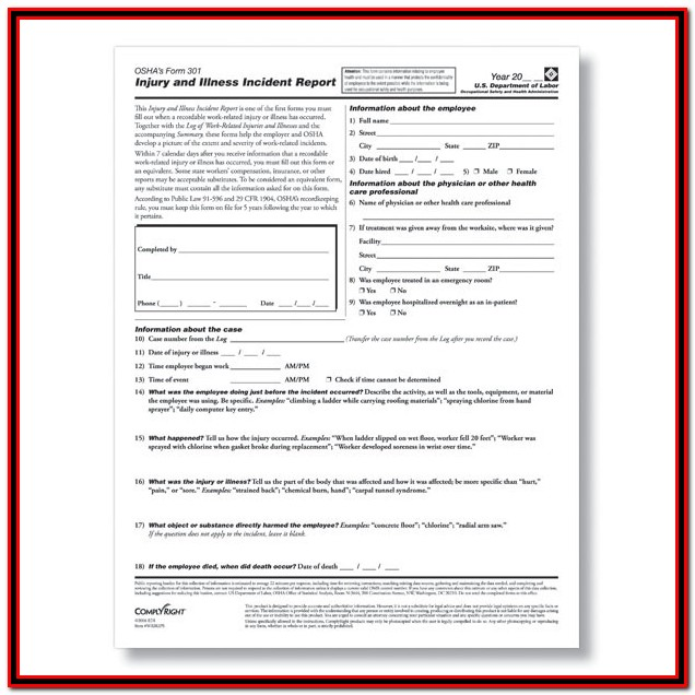 Osha 300a Form Posting Requirements