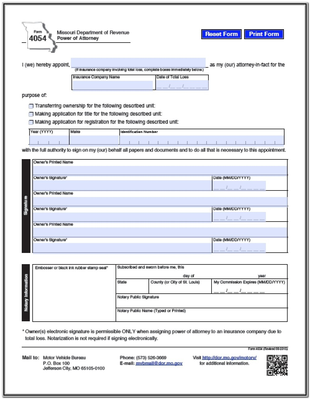 Power Of Attorney Form Missouri Bar