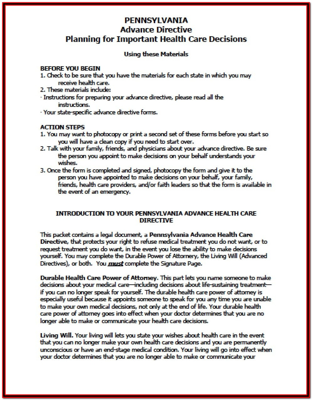 Power Of Attorney Form Pa Real Estate
